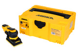 Mirka DEOS 353CV Orbital sander kit, including a case, a hose and a variety of Abranet sanding strips.