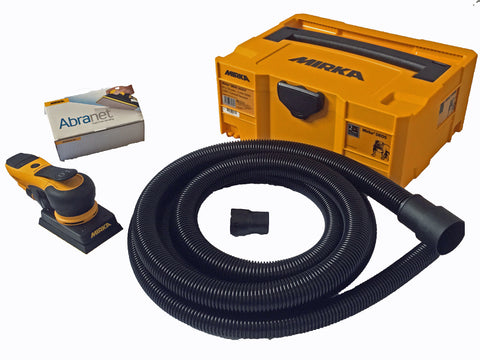 Mirka DEOS sander kit with case, hose and a box of 50 x P120 Abranet sanding strips.