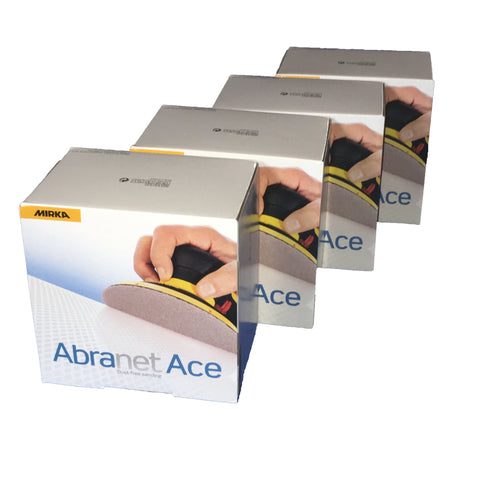 Mirka Abranet ACE discs can be used for hand sanding or power sanding. Four boxes of 50 discs.