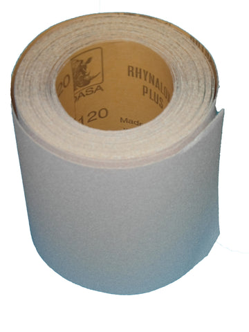 Indasa 10m aluminium oxide sandpaper roll with durable latex backing paper.