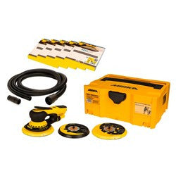 Mirka DEROS orbital sander with 125 & 150mm pads, hose, case and Abranet sanding discs..