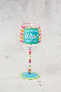 Eat Sleep Wine Repeat Wine Glass