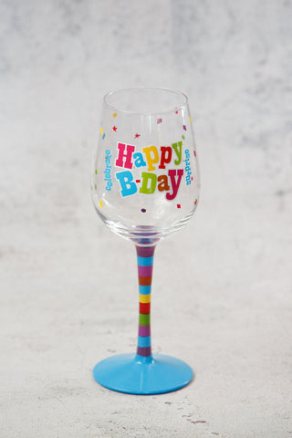 Happy B-Day Wine Glass