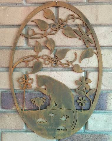 Metal Cat In Garden Wall Art Corten Steel Rusty Patina **FREE POSTAGE AUSTRALIA WIDE**