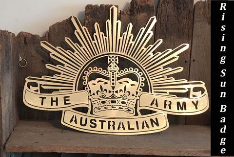 Brass Rising Sun Badge Metal Art **FREE SHIPPING WITHIN AUSTRALIA**