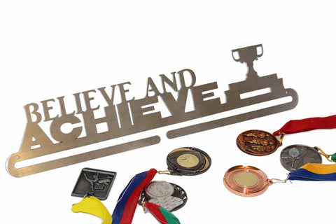 SPORTS MEDAL AND RIBBON HANGER IN STAINLESS STEEL BELIEVE AND ACHIEVE ** FREE POSTAGE IN AUSTRALIA **