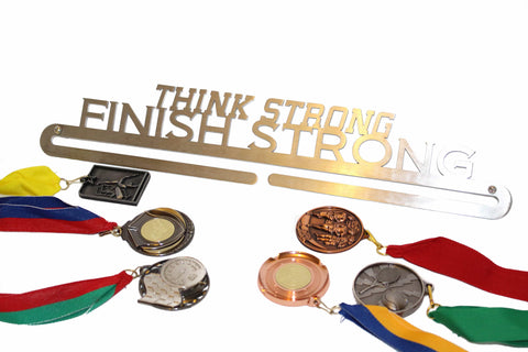 Sports Medal Display in Stainless Steel THINK STRONG FINISH STRONG ** FREE POSTAGE IN AUSTRALIA **