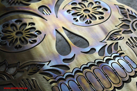 Stainless Steel Flame Coloured Sugar Skull **FREE POSTAGE WITHIN AUSTRALIA**