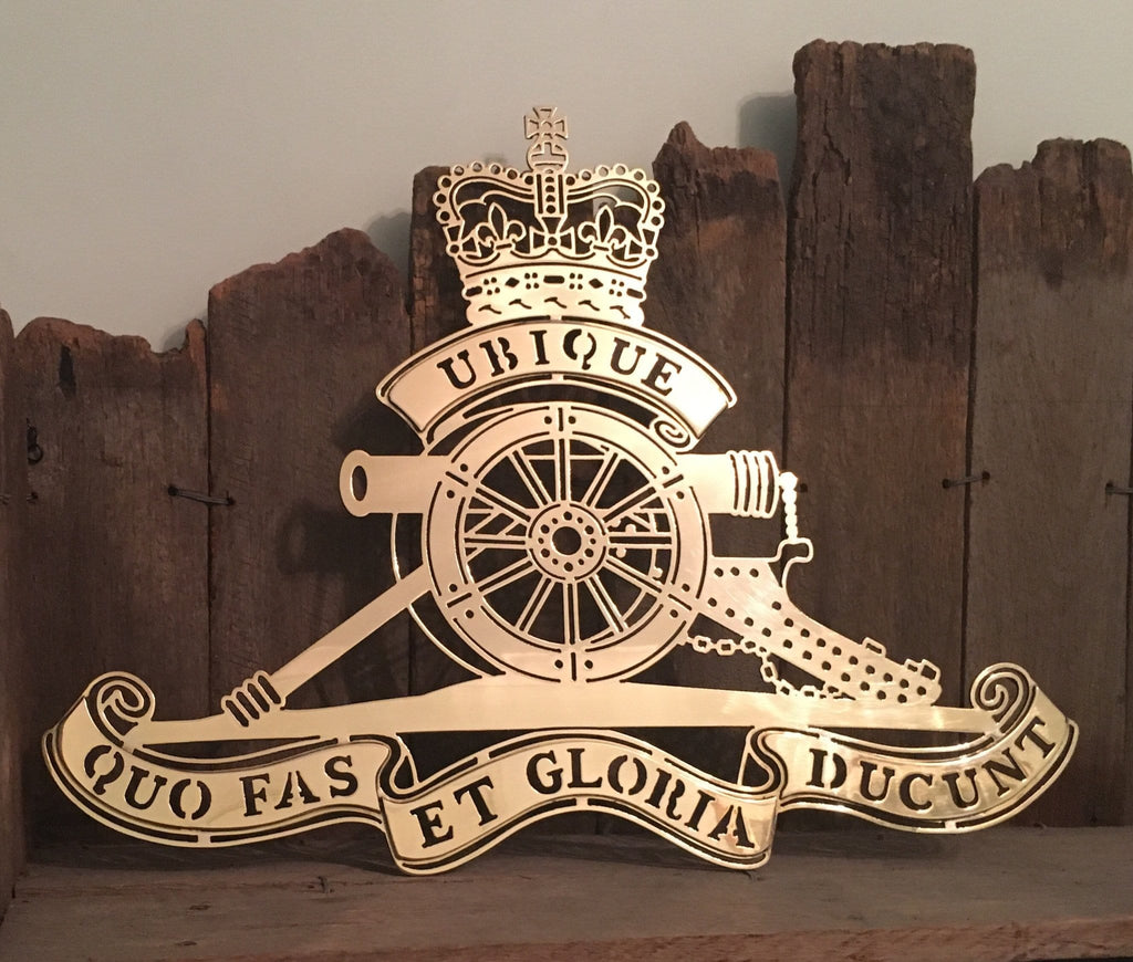 Brass Royal Australian Artillery Badge RAA Metal Art ** FREE POSTAGE WITHIN AUSTRALIA ** - Australian Custom Metalwork Designs