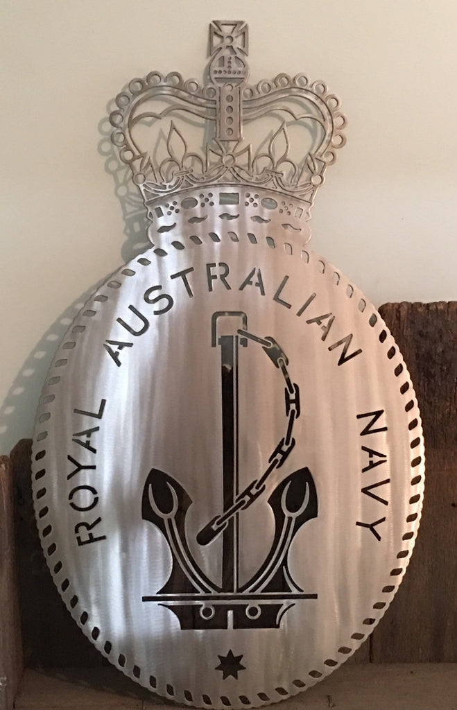 Navy RAN Badge in 316L Stainless Steel **FREE SHIPPING IN AUSTRALIA** - Australian Custom Metalwork Designs