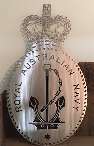 Navy RAN Badge in 316L Stainless Steel **FREE SHIPPING IN AUSTRALIA**