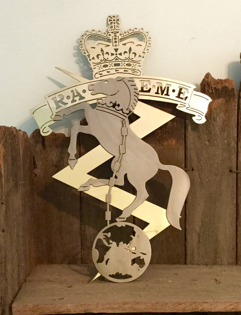 Brass & Stainless RAEME Metal Art Badge - Australian Army Art - FREE SHIPPING IN AUS - Australian Custom Metalwork Designs