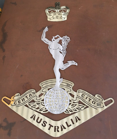 Royal Australian Corps of Signals RASigs in European Brass & 316L Stainless Steel **FREE SHIPPING IN AUSTRALIA**