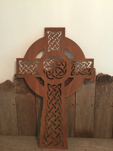 Celtic Cross Cor-ten Steel Rusty Patina **FREE SHIPPING WITHIN AUSTRALIA**