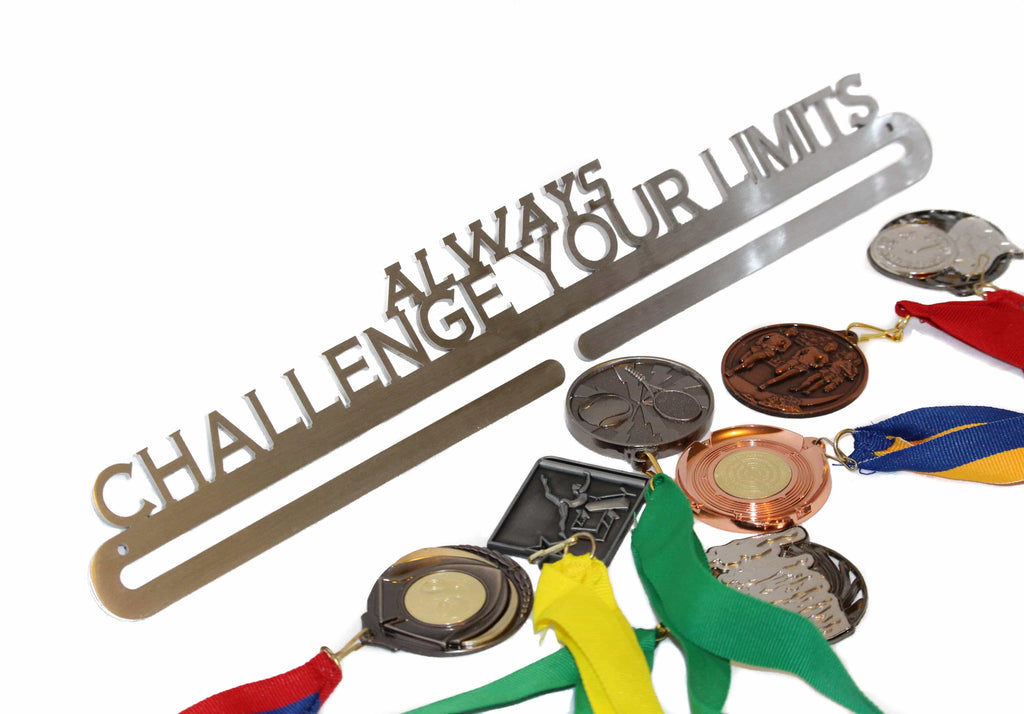 MEDAL AND RIBBON HANGER - ALWAYS CHALLENGE YOUR LIMITS **FREE SHIPPING IN AUSTRALIA** - Australian Custom Metalwork Designs