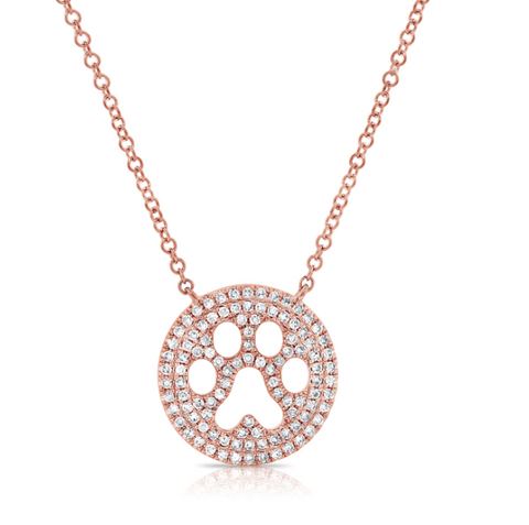 14k Rose Gold and Diamond Paw Print Pendant