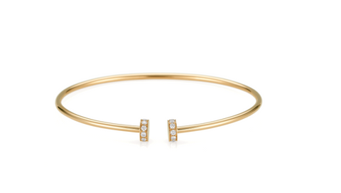 18k Yellow Gold and Diamond Nail Head Cuff Bracelet