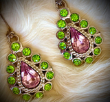 Amethyst- and Emerald-Colored Earrings