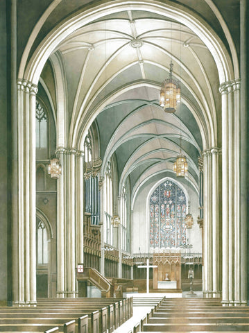 "Marina Ahun's ""Princeton University Chapel Interior"" Watercolor Fine Print"
