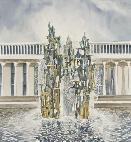 "Marina Ahun's ""The Fountain of Freedom"" Watercolor Fine Art Print"