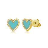 14k Gold and Turquoise Mini Heart Stud Earrings