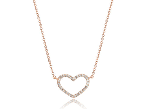14k Rose Gold Petite Diamond Heart Necklace