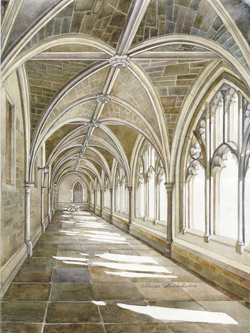 "Marina Ahun's ""Holder Cloister"" Watercolor Fine Art Print"