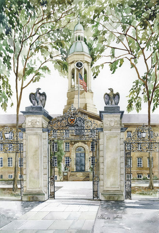 "Marina Ahun's ""Nassau Hall"" Watercolor Fine Art Print"