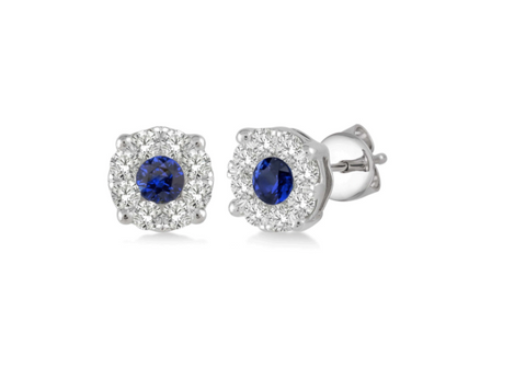 14k White Gold and Sapphire Stud Earrings