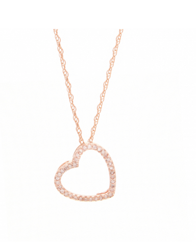 Classic 14k Rose Gold and Diamond Heart Pendant