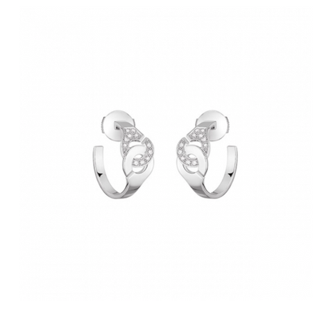 Dinh Van 18k White Gold and Diamond Menottes Hoop Earrings