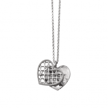 d chain silver small sterling heart diamond qvc product uk locket for
