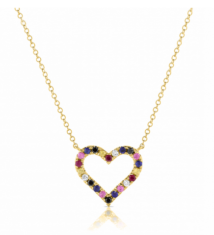 14k Yellow Gold Rainbow Heart Pendant