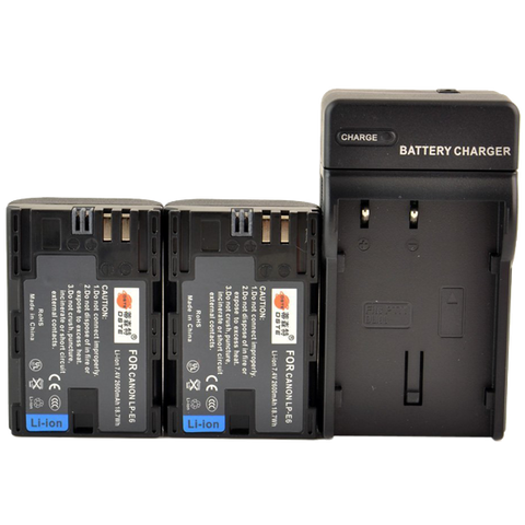 DSTE 2pcs LP-E6 Li-ion Battery + DC88 Charger for Canon