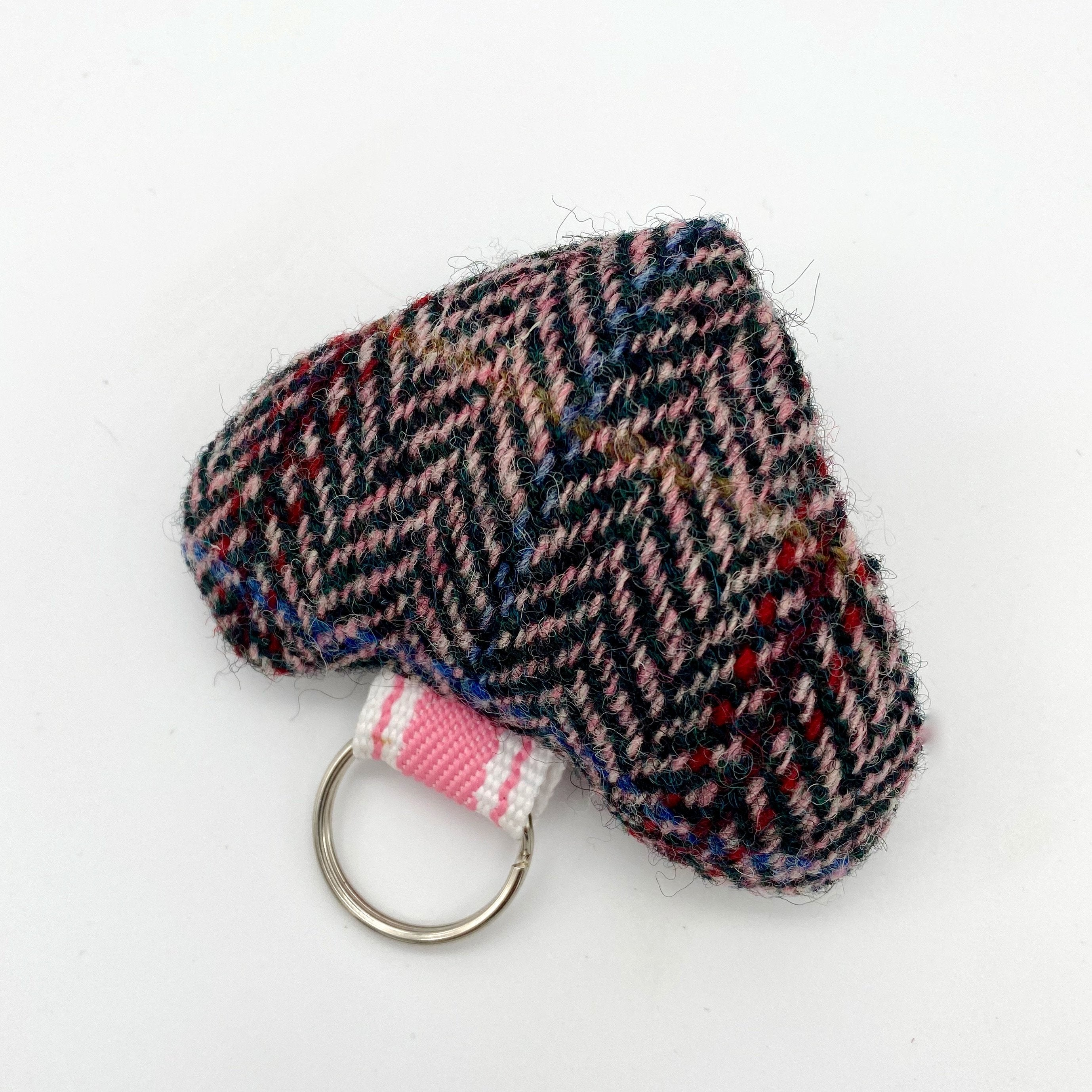 Julian Road Keyring Tweed Heart Keyring - Harris Tweed Blue/grey