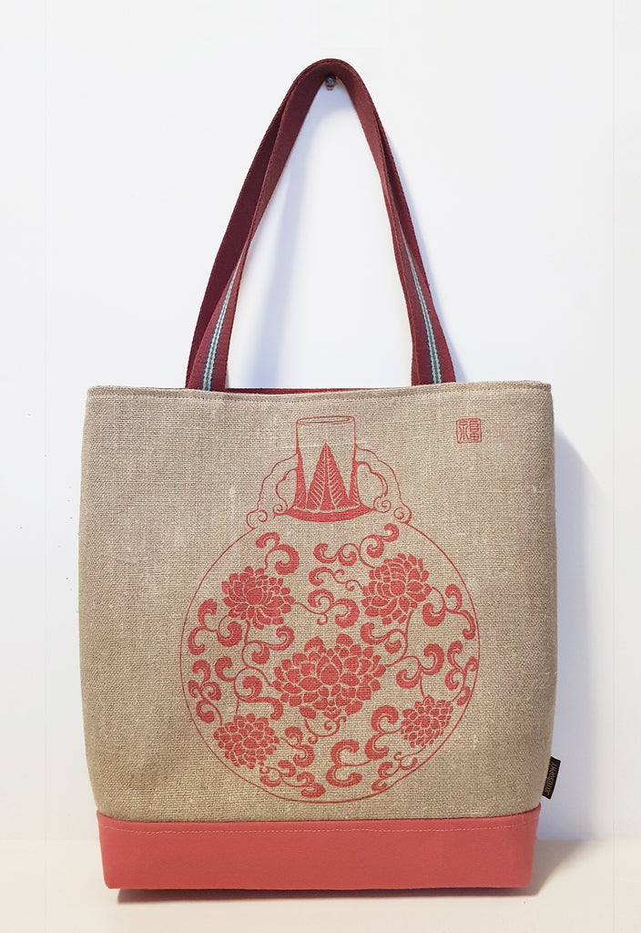 Red Vase Motif Jute Linen Market Tote with Canvas Bottom