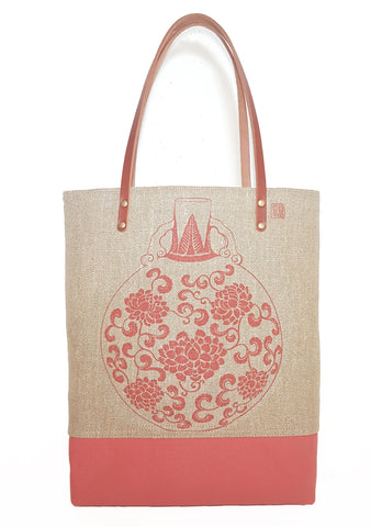 Vase Jute Linen Tall Market Tote Red Peony