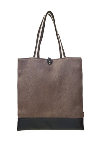 Brown Luxury Heavy Twill Linen Tote with Leather Bottom