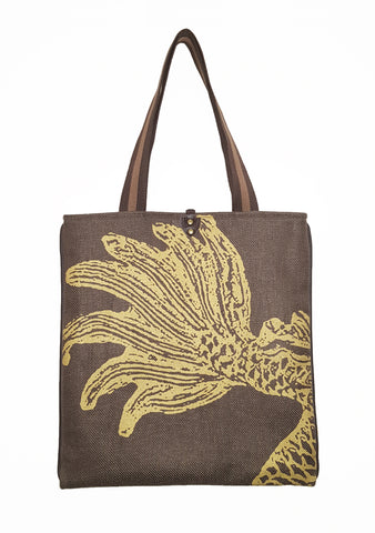 Dragon T  Twill Linen Slim Tote Brown