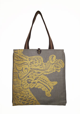 Dragon H  Twill Linen Slim Tote Gray