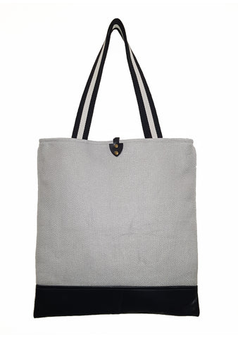 Gray Luxury Heavy Twill Linen Tote with Leather Bottom