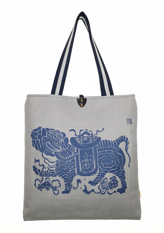 Elephant Twill Linen Slim Tote Silver