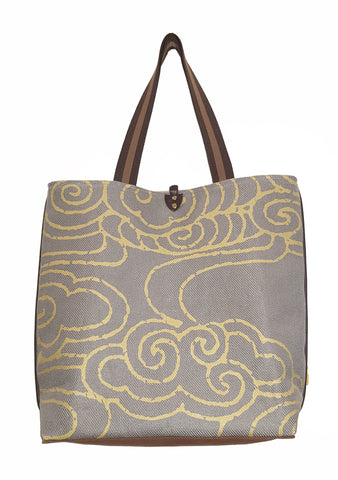Cloude Twill Linen Casual Tote Gray