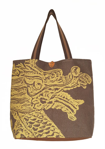 Dragon H Twill Linen Casual Tote Brown