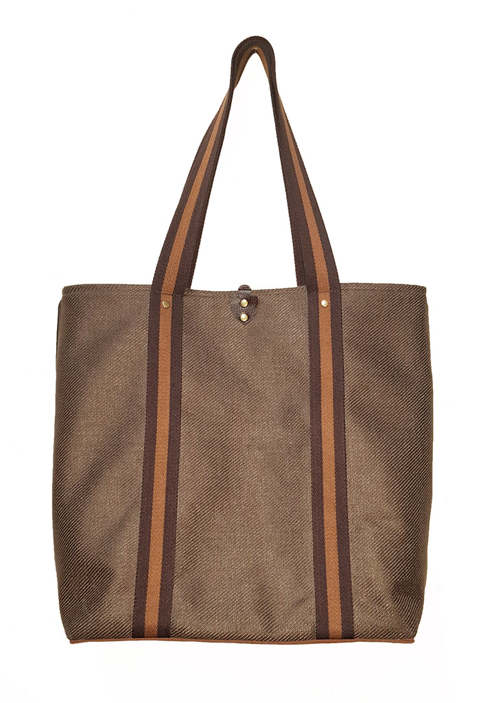 Stripe Twill Linen Casual Tote Brown