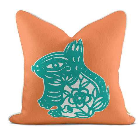 Rabbit Orange Pillow Case