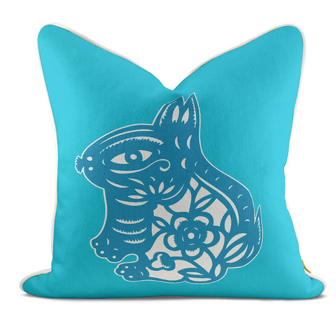 Rabbit Aqua Pillow Case