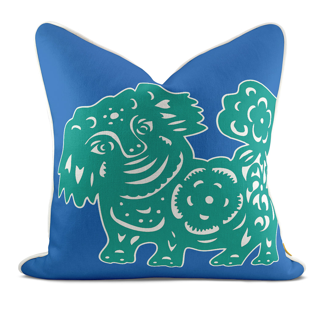 Foo Dog Blue Pillow Case