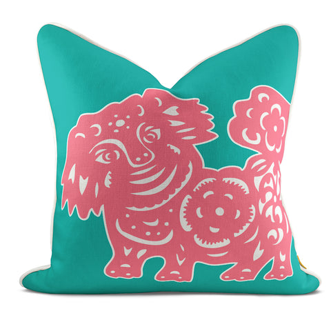 Foo Dog Pink Pillow Case