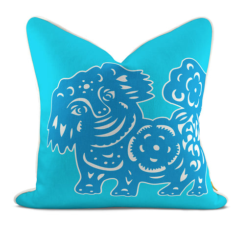 Foo Dog Aqua Pillow Case